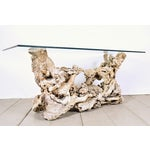 Image of Vintage Tree Root Console Table W/Glass Top