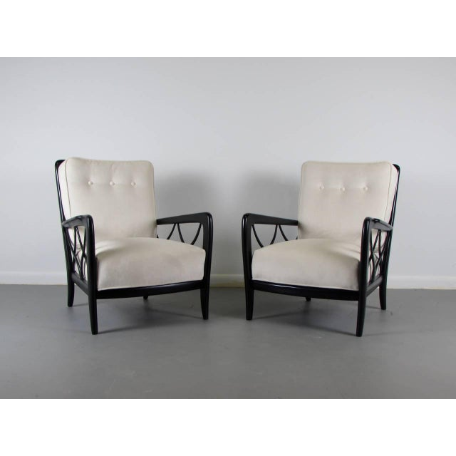 1950s Paolo Buffa Style Lacquered Italian Lounge Chairs - A Pair - Image 4 of 8