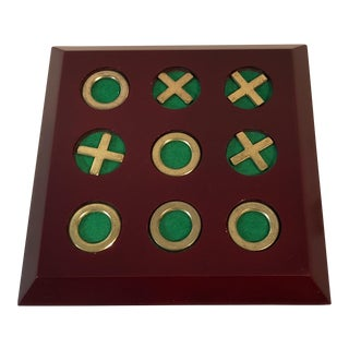 Vintage Cherry Wood & Brass Tic Tac Toe Set