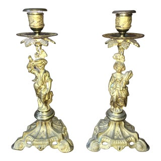 Figural Metal Candle Holders - A Pair