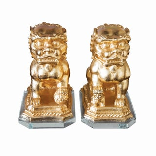 Gold Foo Dogs on Lucite Base- A Pair