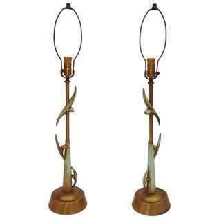 Rembrandt Vintage Brass & Celadon Lamps - A Pair