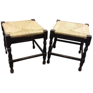 Vintage Italian Country Farmhouse Rush Seat Stools - A Pair
