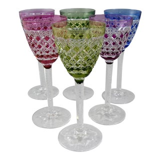 Val St. Lambert Colorful Wine Goblets - Set of 6