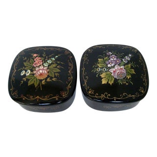 Russian Lacquer Boxes - A Pair