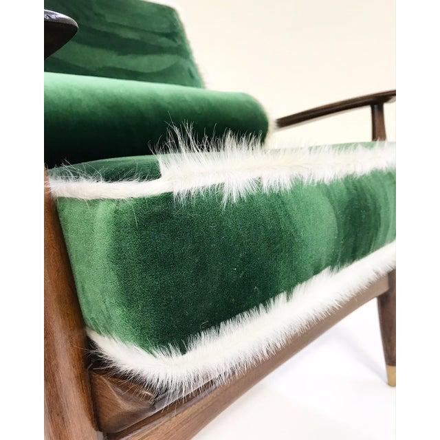 Vintage Walnut Lounge Chair Attributed to Finn Juhl Restored in Schumacher's Emerald Green Silk Velvet and Brazilian Cowhide - Image 9 of 10
