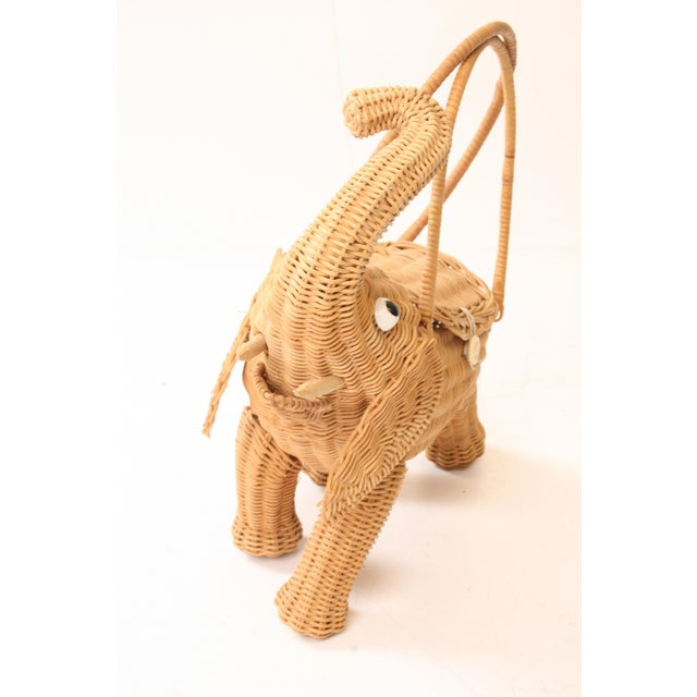 Image of Vintage Wicker Figural Elephant Purse