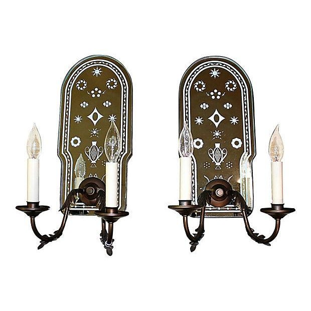 Bronze Metal Mirror-Backed Sconces - A Pair - Image 1 of 6