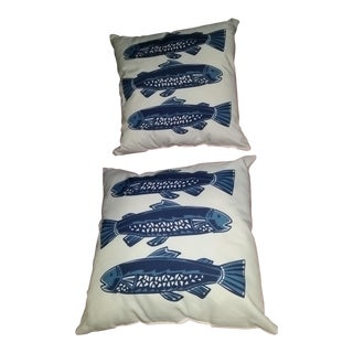 Beach Nautical Fish Pillow - A Pair