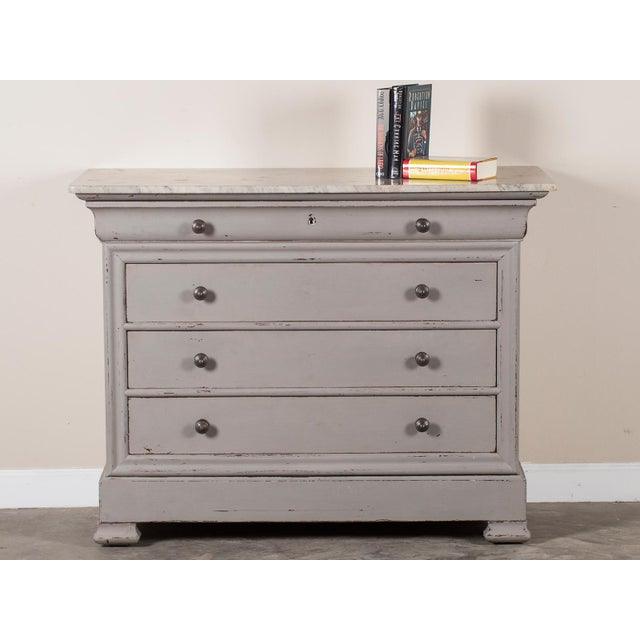 Antique French Painted Louis Philippe Chest of Drawers with a Marble Top circa 1850 - Image 3 of 11