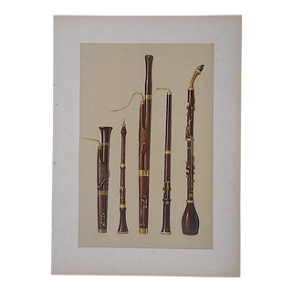 Antique Lithograph, Woodwind Musical Instruments