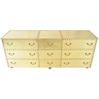 Sarreid Brass Clad Triple Dresser, USA, circa 1970s