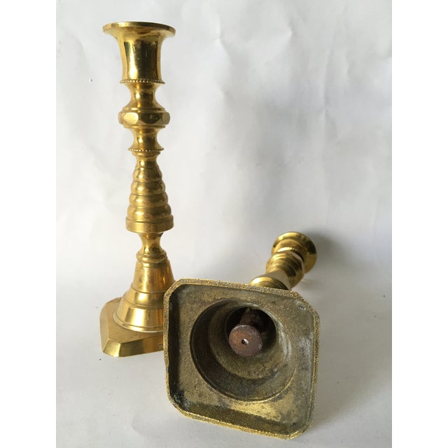 Image of 1890 English Antique Brass Candlesticks
