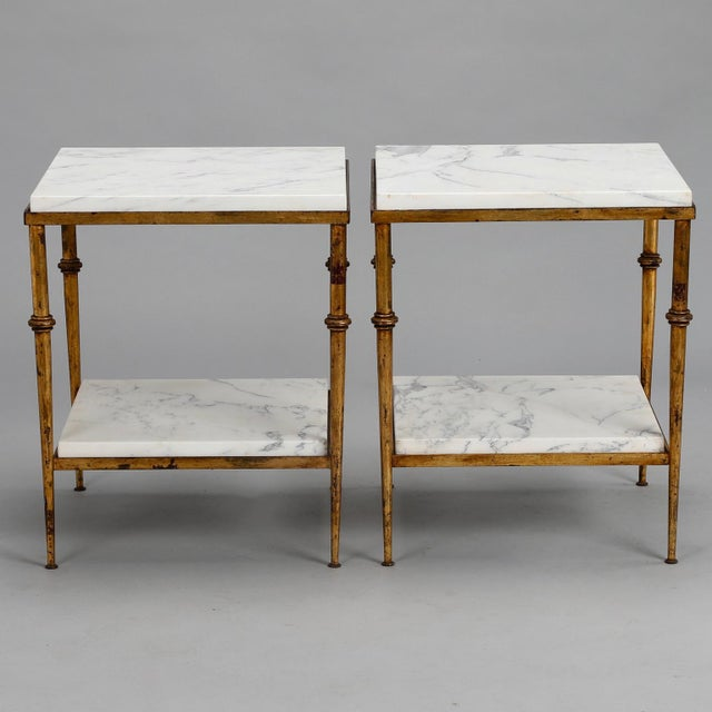Pair of Spanish Gilt Metal and White Marble Side Tables - Image 10 of 11