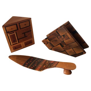 Small Marquetry Wooden Collection with inlay