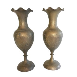 Etched Brass Fluted Vases - A Pair