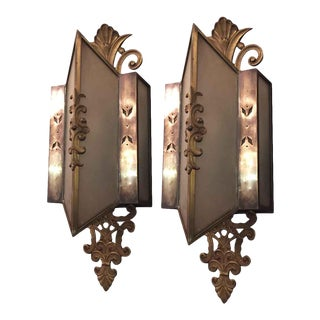 Art Deco Bronze & Frosted Glass Sconces - a Pair