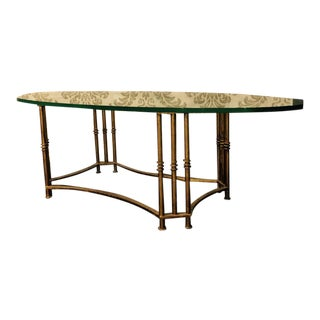 Vintage Gold Metal & Glass Coffee Table