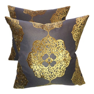 Moroccan Gold and Latte Velvet Pillows - Pair