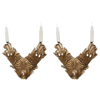 Pair of 18th Century Intricately Carved Italian Sconces