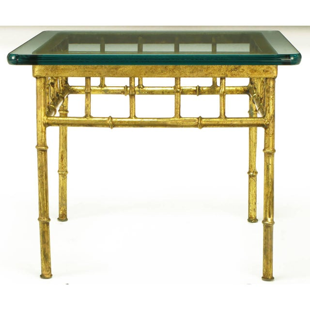 Image of Pair of Glazed Gilt Metal Faux Bamboo End Tables