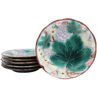 19th Century Majolica Dessert Plates - Set of 6