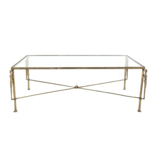 Large Rectangle Solid Bronze Figural Base Glass-Top Coffee Table