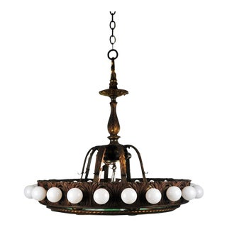 1920's Art Nouveau Bronze and Stained Glass New York Hotel Lobby Chandelier