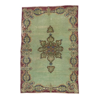 Vintage Green Distressed Turkish Oushak Rug - 5′ × 7′7″