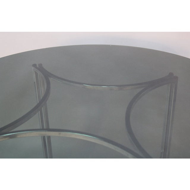 Image of Chrome and Smoked Glass Round Top Dining Table