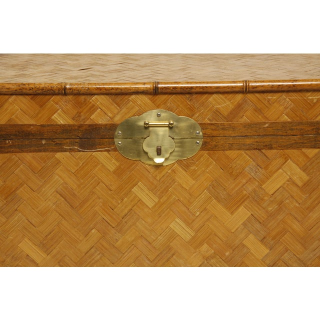 Vintage Rattan and Faux Bamboo Trunk - Image 3 of 6