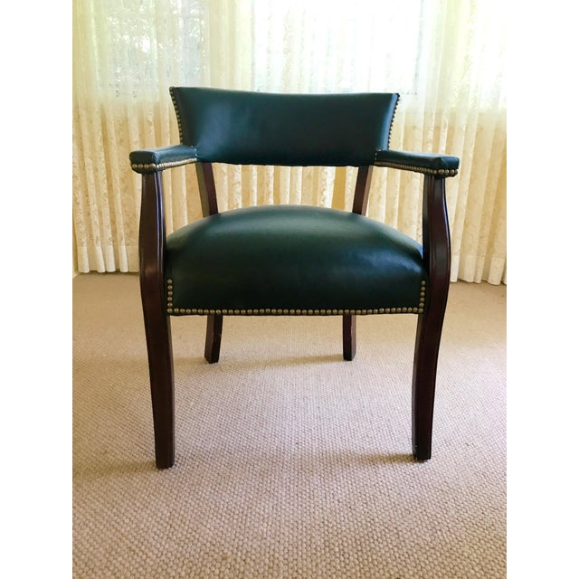 Mid Century Studded Green Leather Library Club Chair - Image 2 of 8