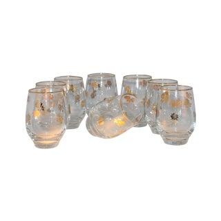 Mid-Century Gold Gilt Roses Glasses - Set of 8
