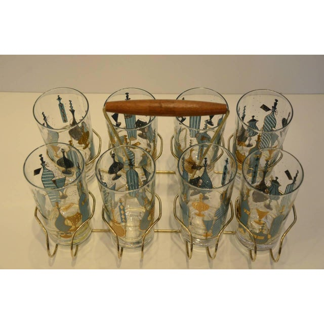 Eight Mid-Century Tom Collins Glasses with Exotic Barware Decoration and Caddy - Image 3 of 5