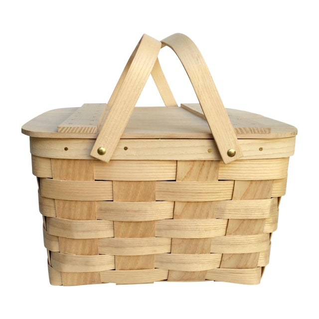 Picnic Baskets For 4 Ireland : Vintage woven ash picnic basket chairish