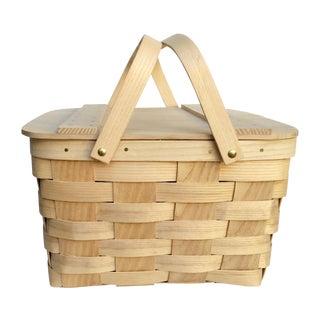 Vintage Woven Ash Picnic Basket