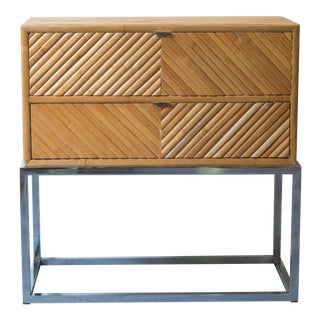 Milo Baughman Split Bamboo Rattan Nightstand Table