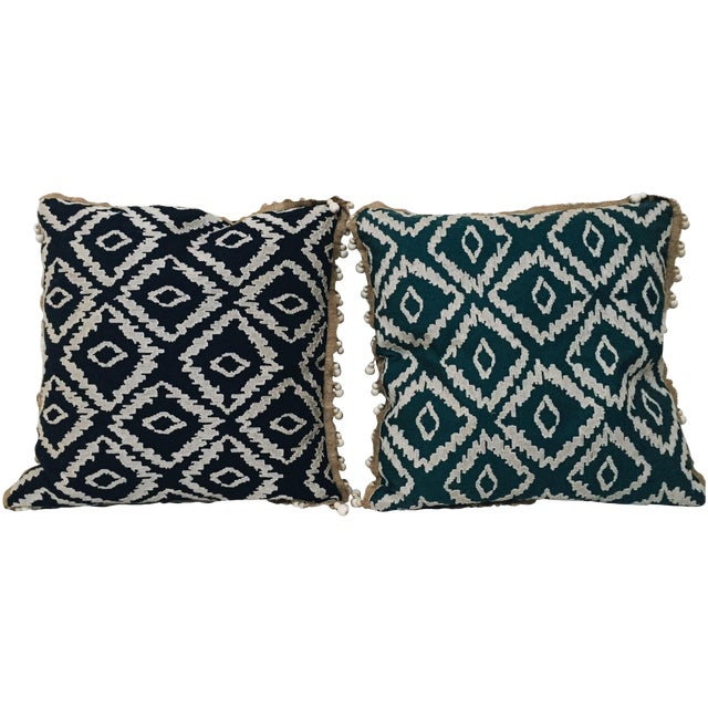 Blue Tribal Pillows - A Pair - Image 1 of 6