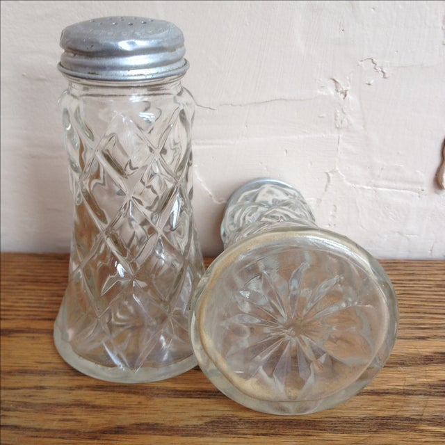 Image of Glass Salt and Pepper Shakers w/ Aluminum Lids