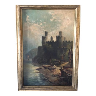Antique English Conwy Castle Wales Oil Painting
