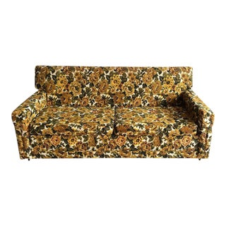 1970s Green and Yellow Floral Couch