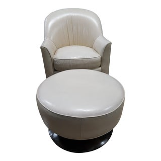 Swaim Leather Swivel Chair & Ottoman