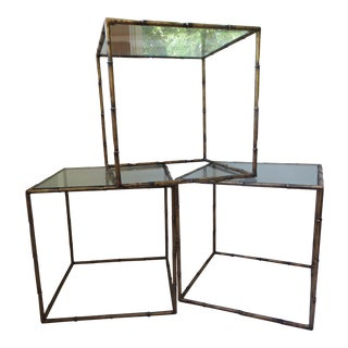 Hollywood Regency Faux Bamboo Gilt Metal Cube Tables - Set of 3
