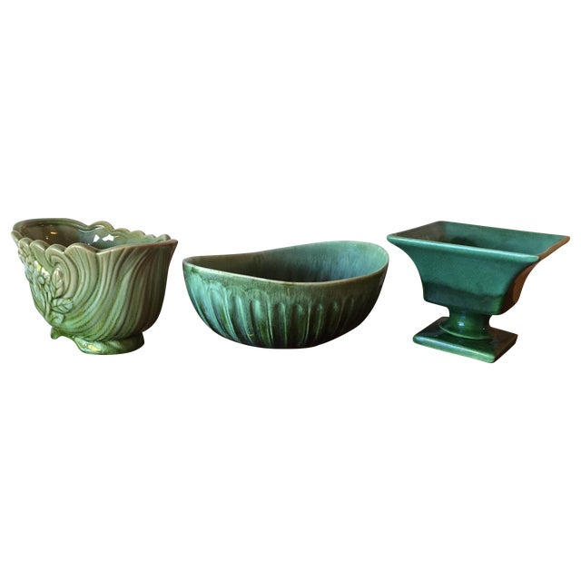 Image of Mid-Century Green Ceramic Pots - Set of 3