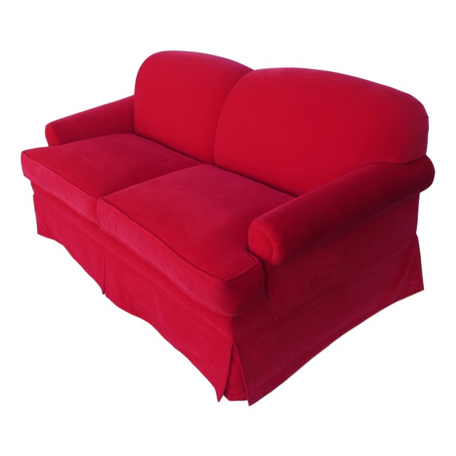 Custom Red Velvet Sofa Chairish