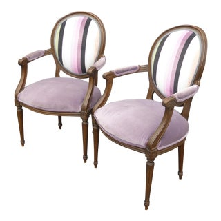 Vintage Baker Furniture French Provincial Purple Striped Arm Chairs - A Pair