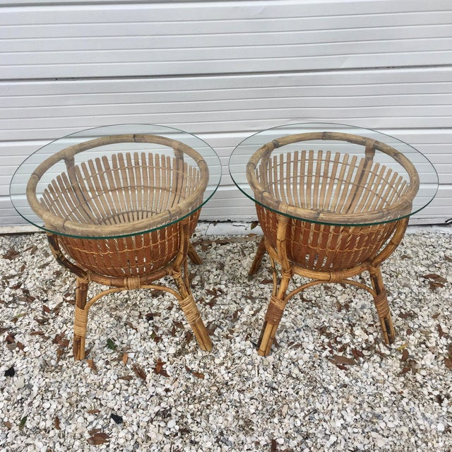 Vintage Rattan Fish Basket Tables -- A Pair - Image 3 of 6