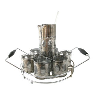 Mid-Century Textured Silver Cocktail Set With Carrier