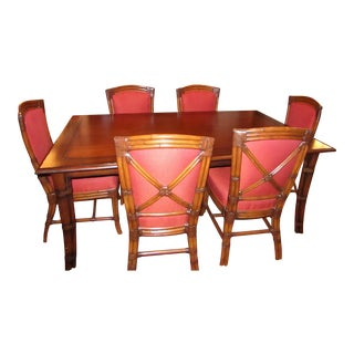 Palecek Dining Table & Wrapped Bamboo & Upholstery Chairs - Set of 7