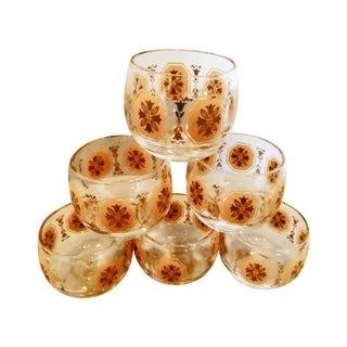 Orange Medallion Cocktail Glasses - Set of 6